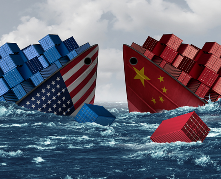 China United States trade war risk and American tariffs or Chinese tariff as two sinking cargo ships as an economic  taxation dispute over import and exports with 3D illustration elements. Stock Photo