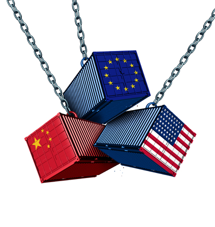 Chinese European and American tariff war as a China Europe USA trade problem as cargo containers in conflict as an economic dispute over import and exports concept as a 3D illustration.
