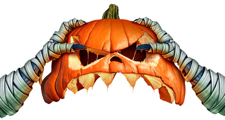 Mummy monster halloween pumpkin hand holding a creepy pumpkin head jack o lantern that is as a halloween symbol for horror and seasonal ritual on a white background in a 3D illustration style..