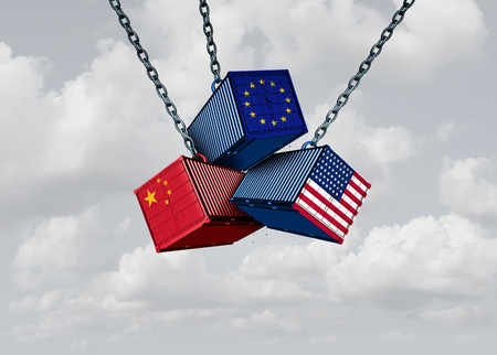 China Europe United States trade war business metaphor and Chinese European and American tariff dispute as an economic problem with cargo containers in conflict as a 3D illustration.