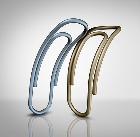 Silver paperclip nudging gold paperclip