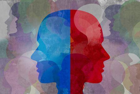 Schizophrenie und gespaltene Persönlichkeitsstörung und psychiatrisches Krankheitskonzept der psychischen Gesundheit in einem 3D-Illustrationsstil.