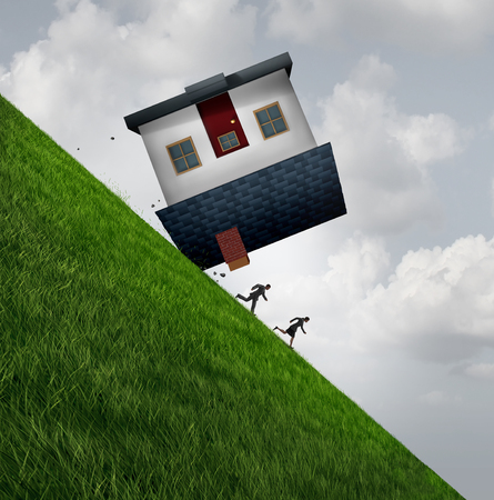 House flipping danger and the financial risk to flip homes as a real estate renovation problem or residential mortgage debt concept as with 3D illustration elements.