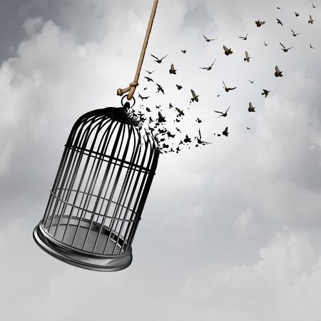 Idea di libertà con una gabbia per uccelli che si trasforma in uccelli in volo come concetto astratto di prigionia con elementi di rendering 3D. Archivio Fotografico