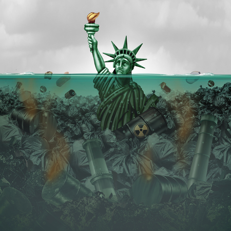 Pollution crisis USA and contaminated water in the United States as an american statue drowning in toxic water full of  industrial waste with 3D illustration elements.