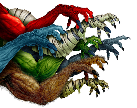 Group of monster arms isolated on a white background as a grabbing zombie mummy werewolf and red demon as a creepy halloween design element in a 3D illustration style.