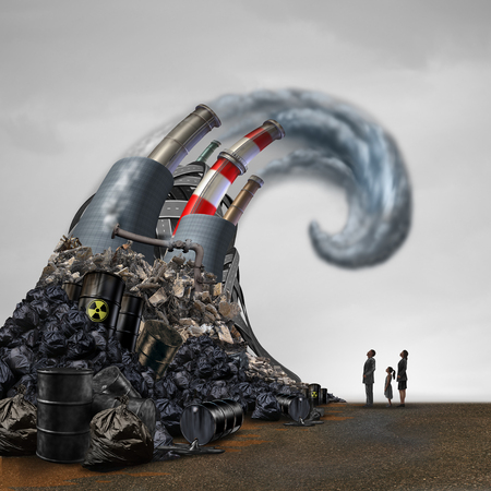 Human pollution health risk as toxic waste causing hazardous effects to society as a wave of dangerous industrial material causing fear to a family with 3D illustration elements. Stock Photo