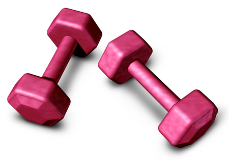 Barbell object or gym dumbbell weight training and aerobic strength lifestyle exercise as a 3D render.