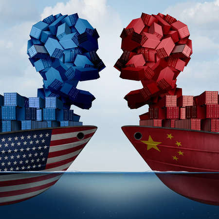 China United States Tariff war and trade dispute and American tariffs as two opposing cargo ships as economic taxation over import and exports concept as a 3D illustration.