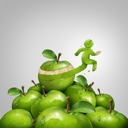 Fitness and weight loss concept as a vitality wellbeing idea through exercise and diet as an apple peel shaped as a runner or jogging person in a 3D illustration style.