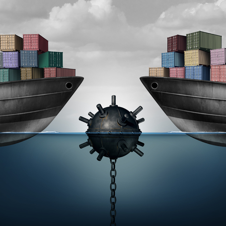 Business activity danger as a sea mine endangering free trade and economic policy as a corporate global economy challenge due to policy or tariffs with 3D render elements.