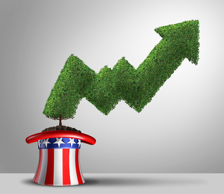 United States economic growth and positive GDP rate and financial success with gross domestic product financial gains in the USA with 3D illustration elements.