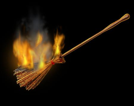 Hexenbesen brennendes Objekt als alter magischer Besen für einen bösen Zauberer als Halloween-Grafikelement-3D-Illustration. Standard-Bild