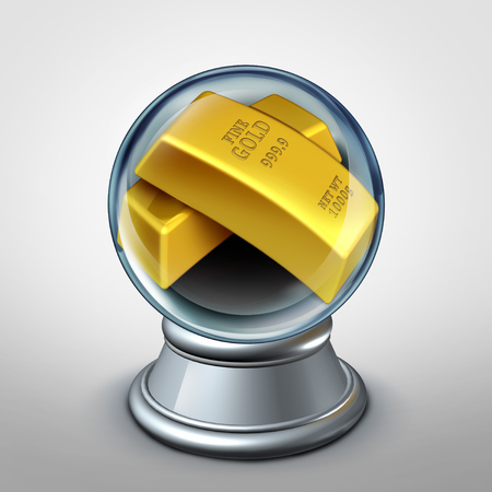 Gold commodity forecast and future demand or global commodities investment financial and business trade concept as a crystal ball with golden bars with 3D illustration elements.