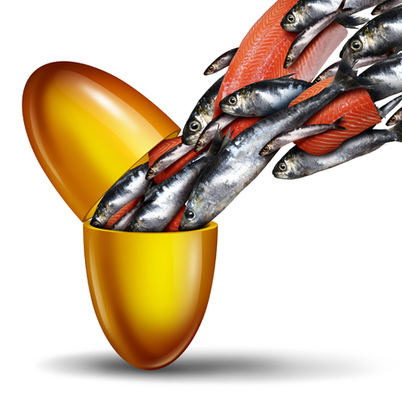 Fish oil supplement and omega 3 fatty acid nutrient with an open capsule pill as a natural health medicine with sardines and salmon with 3D illustration elements. Zdjęcie Seryjne