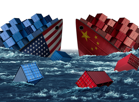 China United States trade trouble and economic war or American tariffs and Chinese tariff as two sinking cargo ships as a taxation dispute over import and exports with 3D illustration elements. Stock Photo
