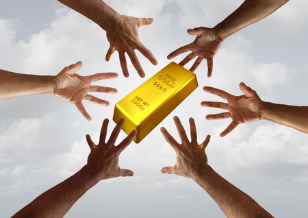 Gold demand and global commodity investment financial and business trade concept as diverse hands reaching for a golden bar with 3D illustration elements. 스톡 콘텐츠