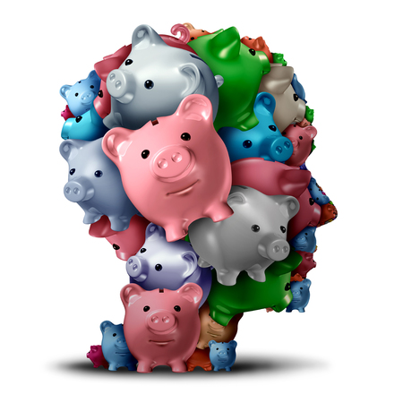 Bank strategy and retirement fund or estate planning financial symbol as a group of piggy banks shaped as a head as a banking or investor customer as a 3D illustration.