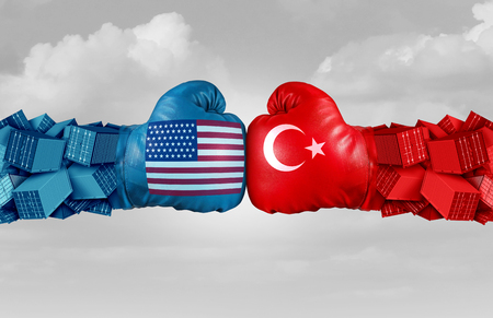 Turkey USA or United States trade and American tariffs conflict with two opposing trading partners as an economic import and exports dispute concept with 3D illustration elements