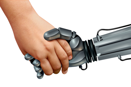 Robots and kids or artificial intelligence educational robotics as a child holding the hand of a cyborg with 3D render elements. Stock fotó
