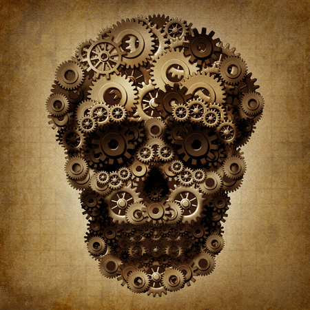 Skull gear grunge as a group of cog wheels shaped as a steampunk or steam punk death skeleton as a vintage technology danger symbol as a 3d illustration. Reklamní fotografie
