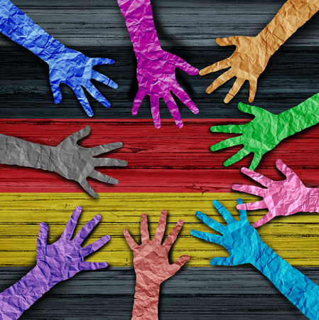 German diversity as diverse hands made of crumpled paper connected together as a concept for europe citizen solidarity and patriotic friendship in Germany in a 3D illustration style. Stock Illustration - 107062947
