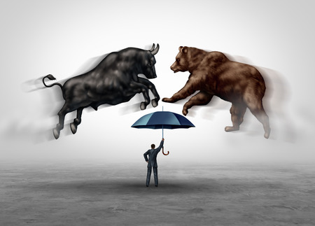 Stock market crash security and financial economic risk protection with bear and bull markets as a trading equities hazard metaphor as a money managing consultant in a 3D illustration elements.