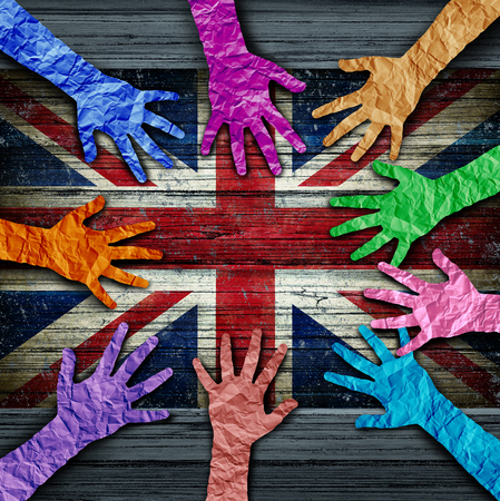 British diversity as diverse hands made of crumpled paper connected together as a concept for Britain citizen solidarity and patriotic friendship in the United Kingdom in a 3D illustration style. Stock Illustration - 107062959