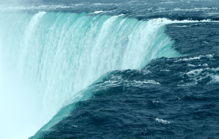 Niagara falls close up of the horseshoe waterfall in Ontario Canada as a natural wonder tourist attraction. Stock Photo