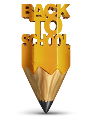 Back to school education and learning symbol as a pencil with text as a 3D render.