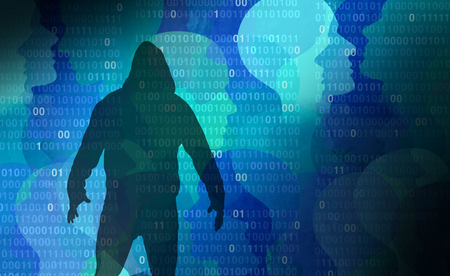 Private data hacker as an abstract personal information security technology as a social media and public profile and illicit sharing of lifestyle activities in a 3D illustration style.