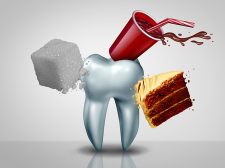 Effects of sugar on teeth as an oral care risk as a dentistry tooth health as sweet food as an acid causing bacteria and molar cavity or cavities decay with 3D illustration elements. Stock Photo
