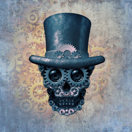 Steampunk skull concept or steam punk science fiction historical fantasy with a group of gears and cogs shaped as a head skeleton as a 3D illustration.