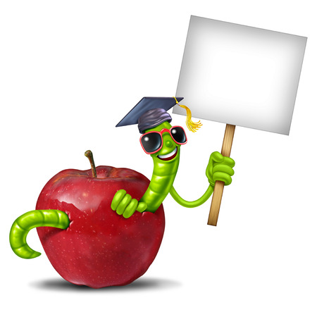 School worm blank sign as an education back to school concept as a red apple with a happy smiling green book worm wearing a graduation cap holding up a white banner with 3D elements.
