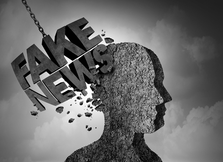 Fake news breaking story concept and hoax journalistic reporting as a wrecking ball shaped  as text as false media reporting metaphor and damaging deceptive disinformation with 3D illustration elements. Stock Photo