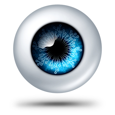 AI artificial intelligence technology symbol biometric security scanning concept as personal data tech as a human eye with electronic circuit technologies as a 3D illustration.