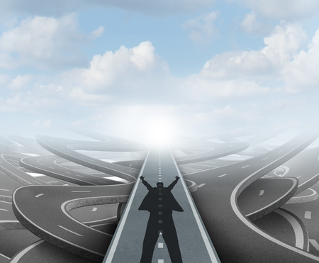 Winning business strategy as a business success path concept with 3D illustration elements.