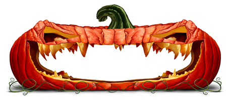 Halloween pumpkin halloween design element as a blank open mouth as a spooky orange character with jack o lantern teeth as an advertising message with a scary expression with 3D illustration elements.