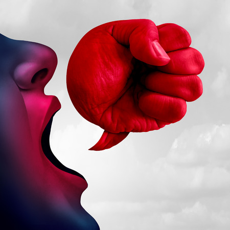 Social bullying and aggressive hurtful language as a bully talking with a speech bubble shaped as a fist as a symbol for debate or legal defense in a 3D illustration style. Stok Fotoğraf - 107789599
