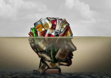 Alcoholism and alcohol use disorder as the health risk to an addiction of drinking alcoholic beverages drowning in despair as a dangerous intoxification causing life threatening crisis as a 3D render. Stock Photo
