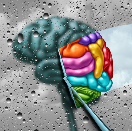 Brain creativity as a gray blurry brain with drops on a window as a wiper cleans the confusion to a creative thinking as a symbol of autism and autistic mind with 3D illustration elements.