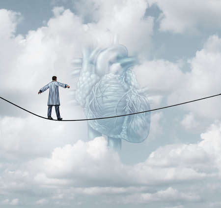 Heart surgery medical risk as a cardiologist or surgeon doctor walking on a tight rope high wire as a pulmonary cardiovascular health care insurance concept in a 3D illustration style.
