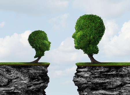 Kind-ouderscheiding en ouderlijke communicatieprobleempsychologie als een gezinsuitdagingsconcept met 3D-illustratie-elementen.