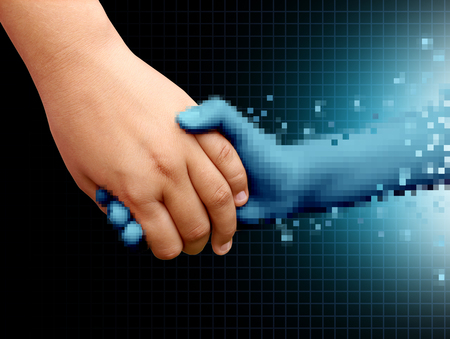 Online friend  and virtual interactive friendship concept as a social media internet relationship with a real human hand holding an artificial intelligence digital person in a 3D illustration style. Stock Photo