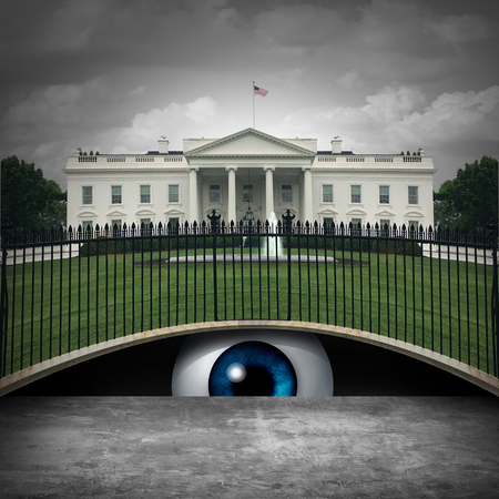 White House secret and deep state political concept as an anonymous source or leaker and United States political symbol of an underground government bureaucracy with 3D elements.