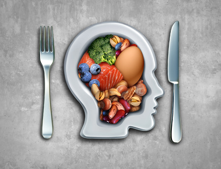 Paleo diet or paleolithic food healthy lifestyle as a plate shaped as a person with fish nuts vegetables berries and an egg with 3D illustration elements. Stock Photo