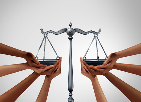 Social justice and equality law in society as diverse people holding the balance in a legal scale as a population legislation with 3D illustration elements.