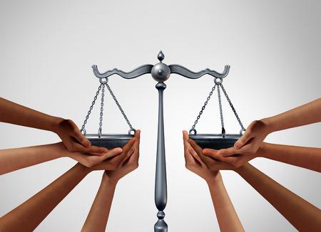 Giustizia sociale e legge sull'uguaglianza nella società come persone diverse che mantengono l'equilibrio su una scala legale come legislazione sulla popolazione con elementi di illustrazione 3D.