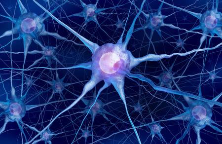 Neuron scientific concept and neurology cell anatomy as a mental health or brain function symbol as a 3D rendering.