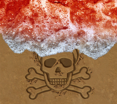 Red tide ocean crisis as deadly algae or natural toxin found in the sea as a marine life death skull on the beach concept  in a 3D illustration style. Stock Photo